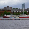 Boat At Salford Quays, Salford, Greater Manchester.