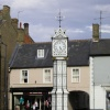 Downham Market, Norfolk. The attractive victorian clock (c.1878) that overlooks the market place
