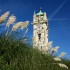 Whitehead Clocktower in front of Bury Town Hall. -