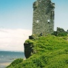 A castle ruin on the  east coast of Ayrshire, Scotland