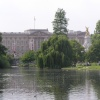 A view of Buckingham Palace across the St James Park lake, central London.