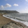 Ringstead Bay, Osmington Mills, near Weymouth, Dorset, on a windy October day.