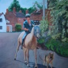 A Lady on a White Horse in Shere, Surrey: A painting by Stanley Port.