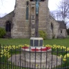 War memorial in the church grounds in Shireoaks in Nottinghamshire.