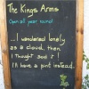 Sign outside pub, Hawkshead, Cumbria.
