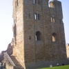 Side view of main tower, Scarborough Castle, North Yorkshire