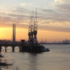 Sunset and Cranes on the Thames at Gravesend.
