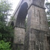 Treffry's Viaduct at Luxulyan, south Cornwall, on a very wet day