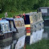 Colourful narrowboats at Slimbridge