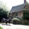 Pony and trap passing thatched cottage at Blickling Hall