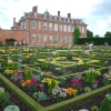 Hanbury Hall with the gardens in full bloom