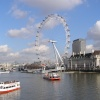 The London Eye with boats.