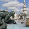 Trafalgar Square fountain with St Martin-in-the-Fields