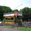 A tram by the old mine at the Black Country Museum