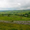Malham Rakes in June, looking down Malhamdale towards the village of Malham, Yorkshire
