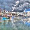 Brixham Harbour as the rain started