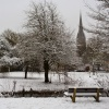 Salisbury Cathedral snow scene