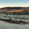 Easter sunrise panorama of Turville, Chiltern Hills
