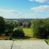 View towards Lamberhurst Church from the roof of Finchcocks, Goudhurst.