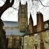 The North West Tower of Lincoln Cathedral from Minster Yard