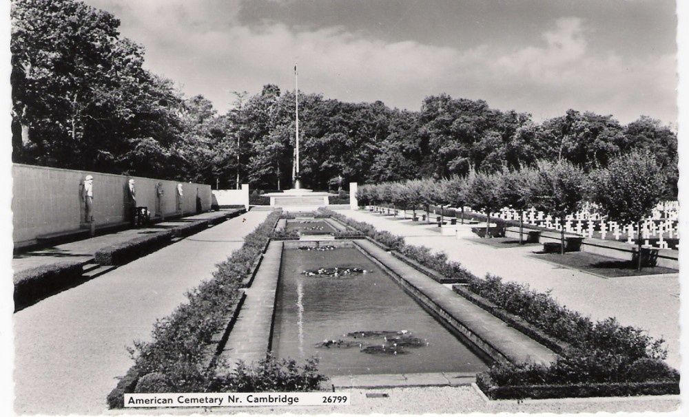 Old Postcard of The American Cemetary, Nr Cambridge
