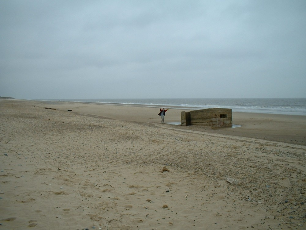 A view of the beach and pill box at Hemsby near Yarmouth, Norfolk