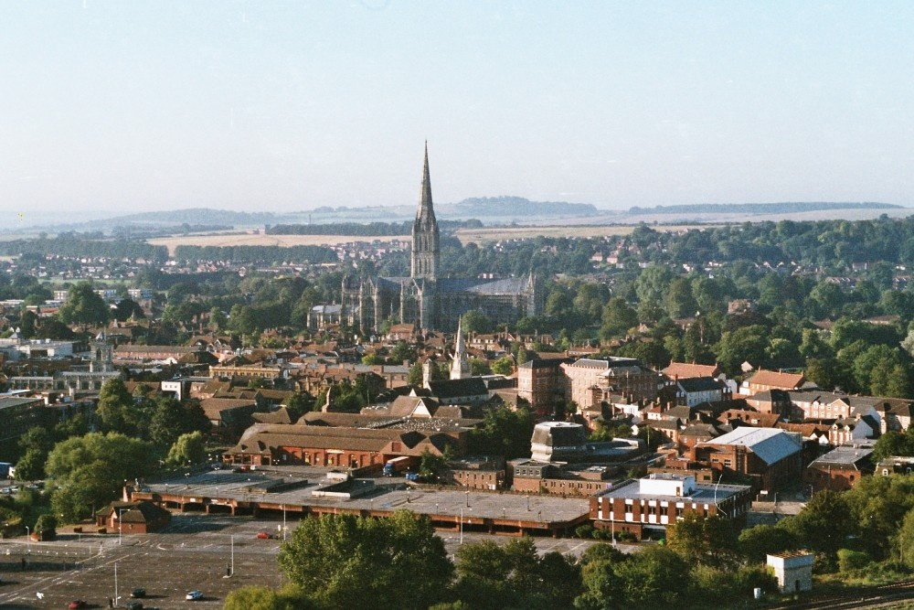Salisbury Cathedral from the air 3/08/2003. Taken on a steam driven Pentax from a hot air balloon