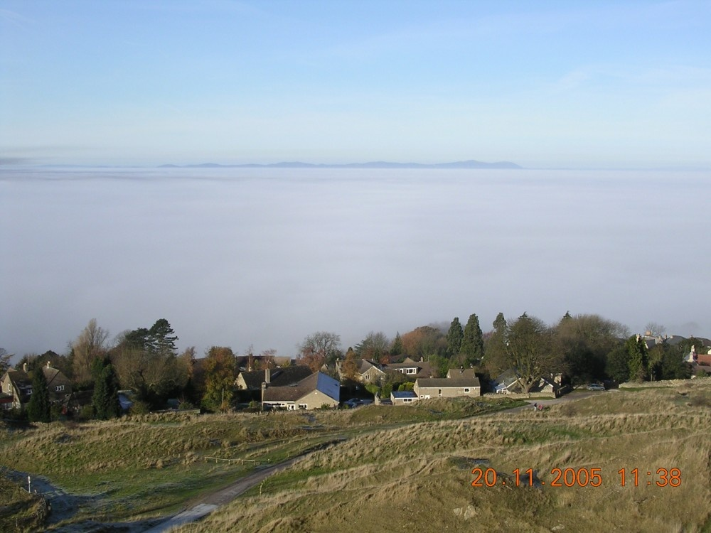 Sea of fog from Cleeve hill nr Cheltenham with the Malvern Hills in the distance.
