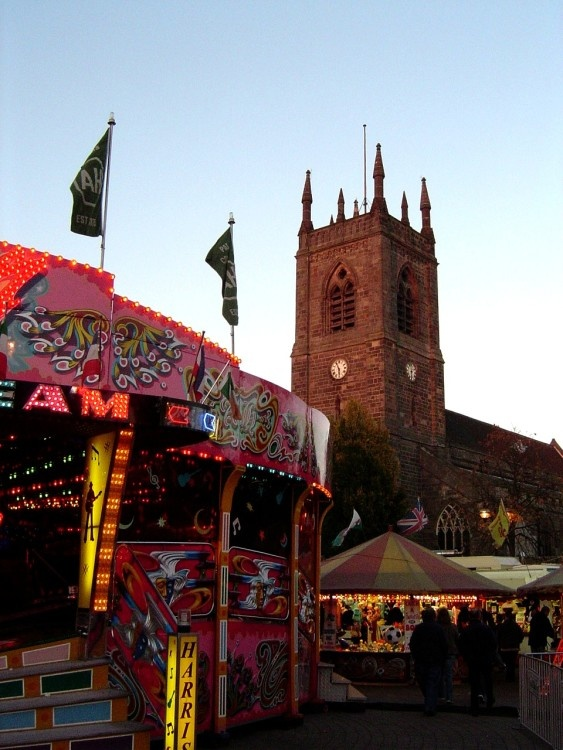 St Mary's Church, Ilkeston, Derbyshire during the Annual Fair in October