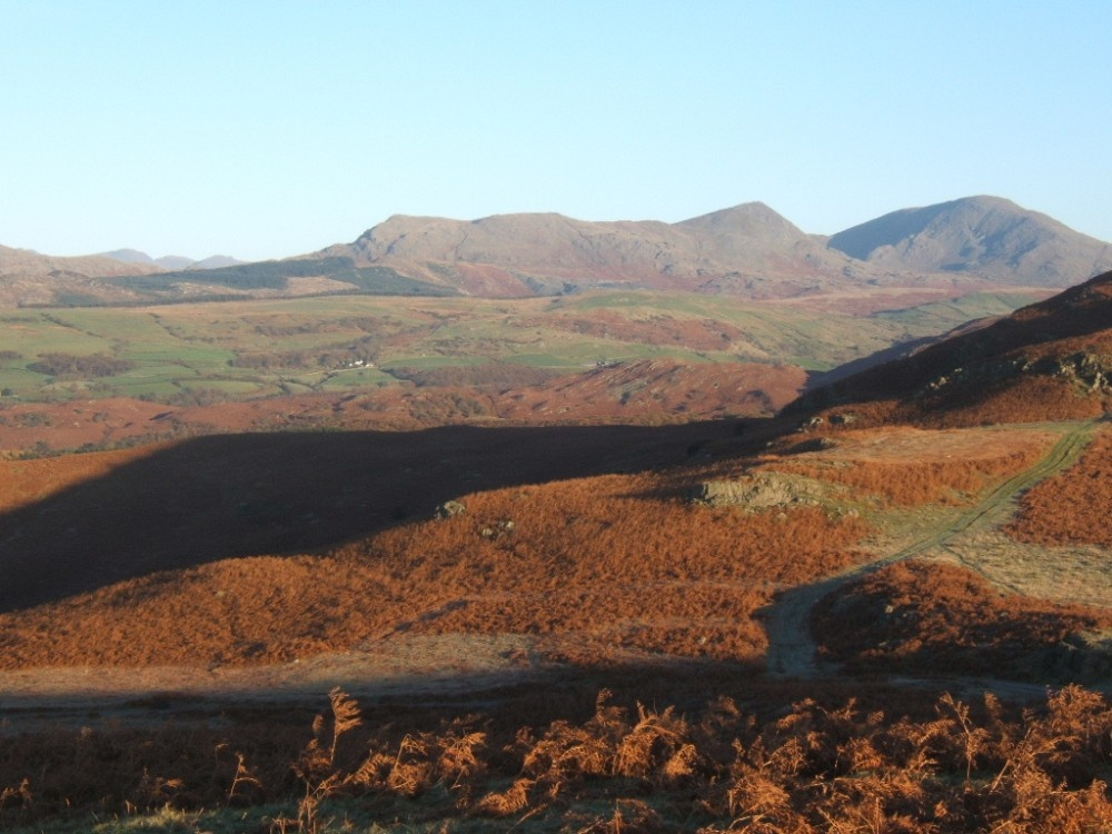 Morning view from moors above Grizebeck, Cumbria.  Coniston Fells in the distance.