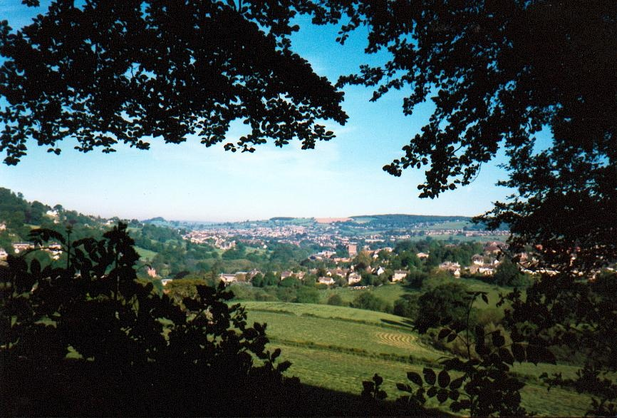 A view of Stroud, Gloucestershire, from the Heavens valley.
