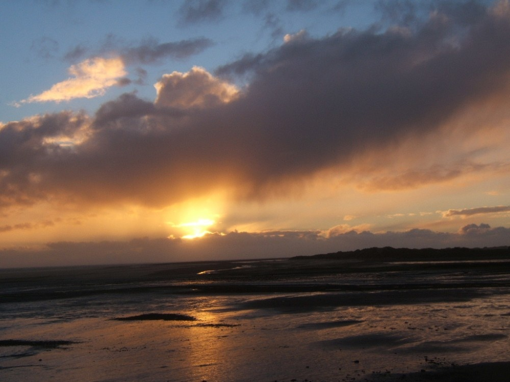 Sunset over the shore at Haverigg, Cumbria.