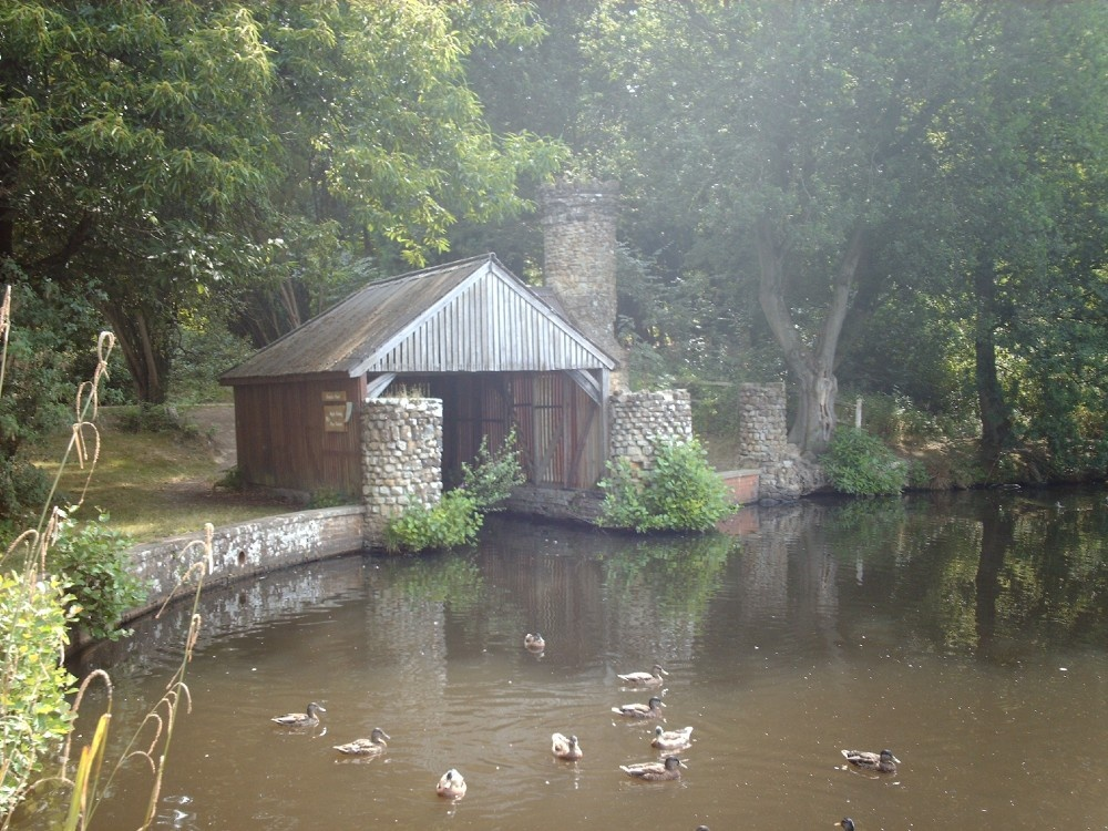 the old boathouse in Buchan park, Crawley, Sussex.