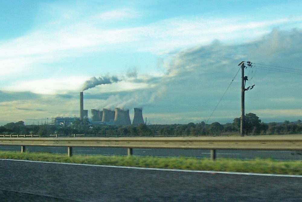 Egborough Power Station from the  M 62 Motorway