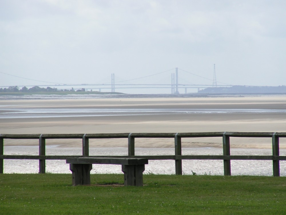 View of the Severn Bridges from Sharpness Docks, tide's gone! Gloucestershire