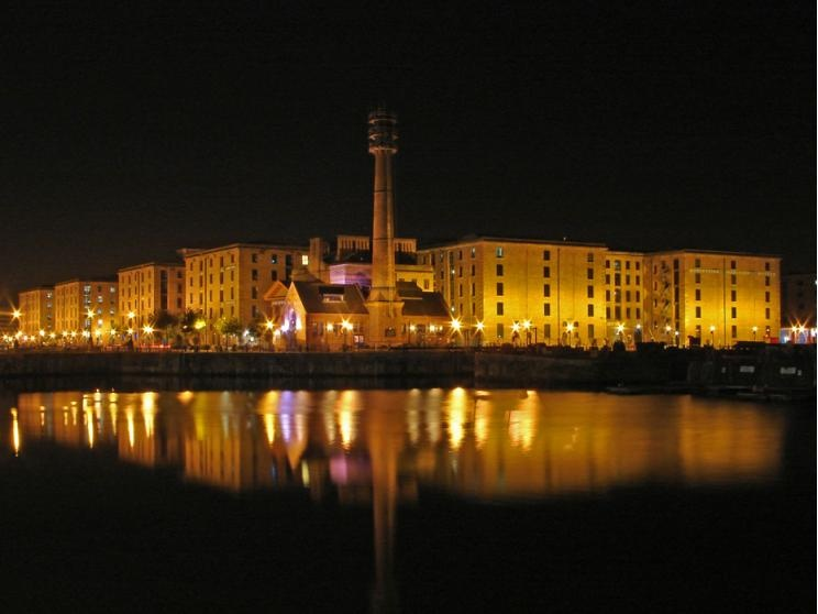 Albert Dock at night, Liverpool, Merseyside.