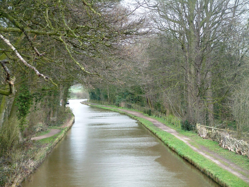 View of canal from Big Wood footbridge. Marbury Country Park, Cheshire