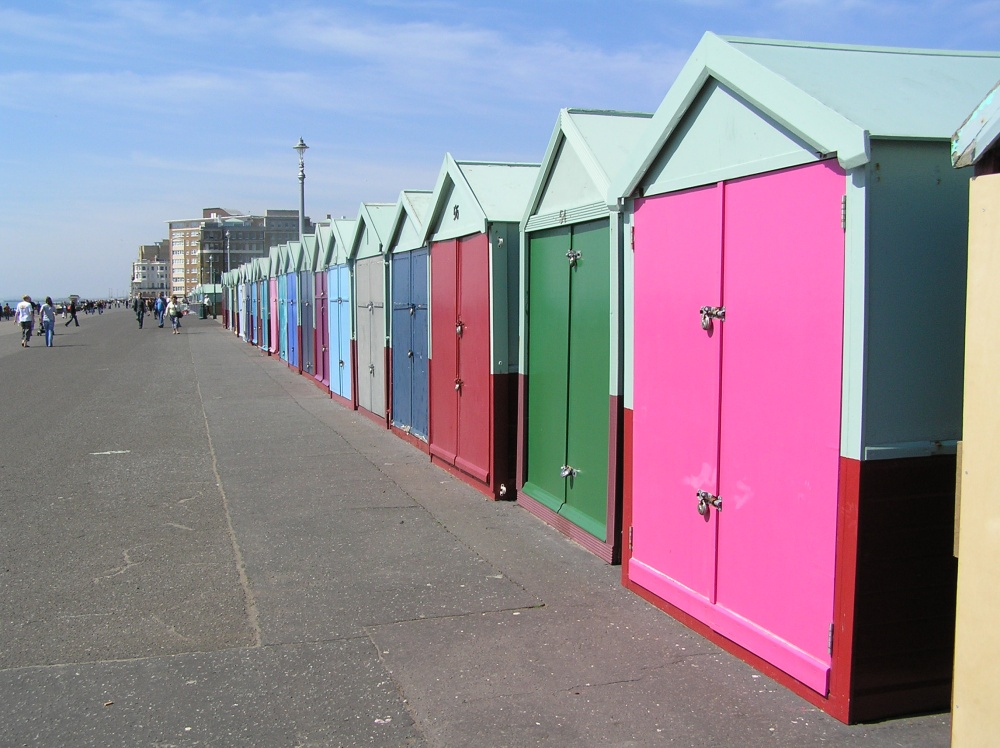 Colourful beach huts on the sea front at Hove, East Sussex