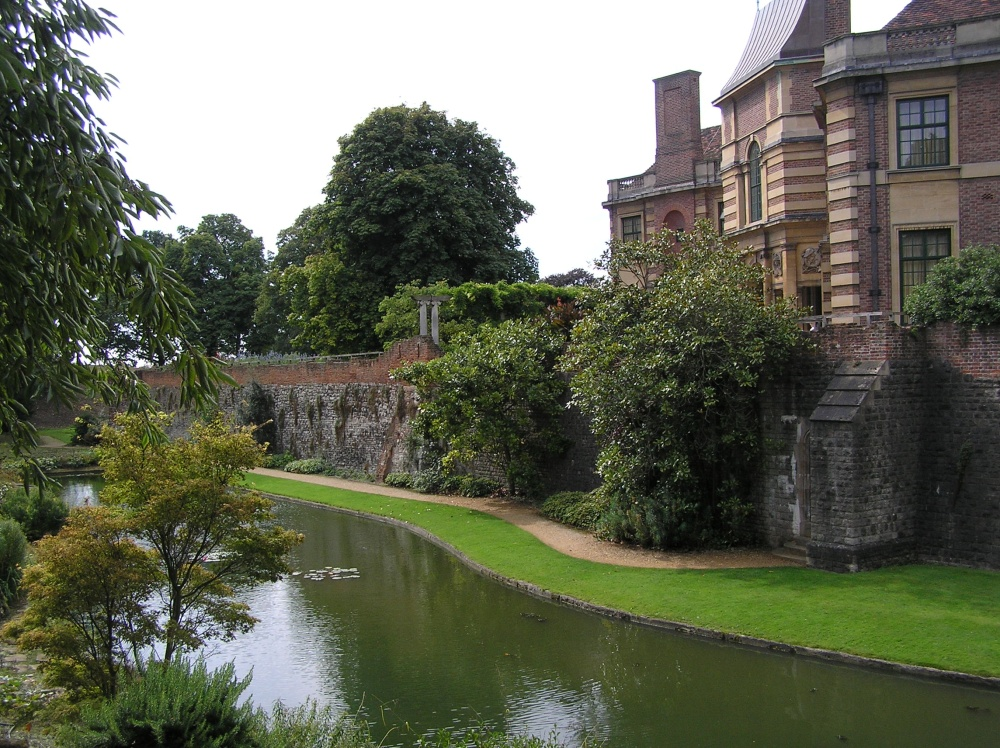 View of the house and gardens at Eltham Palace, South London.