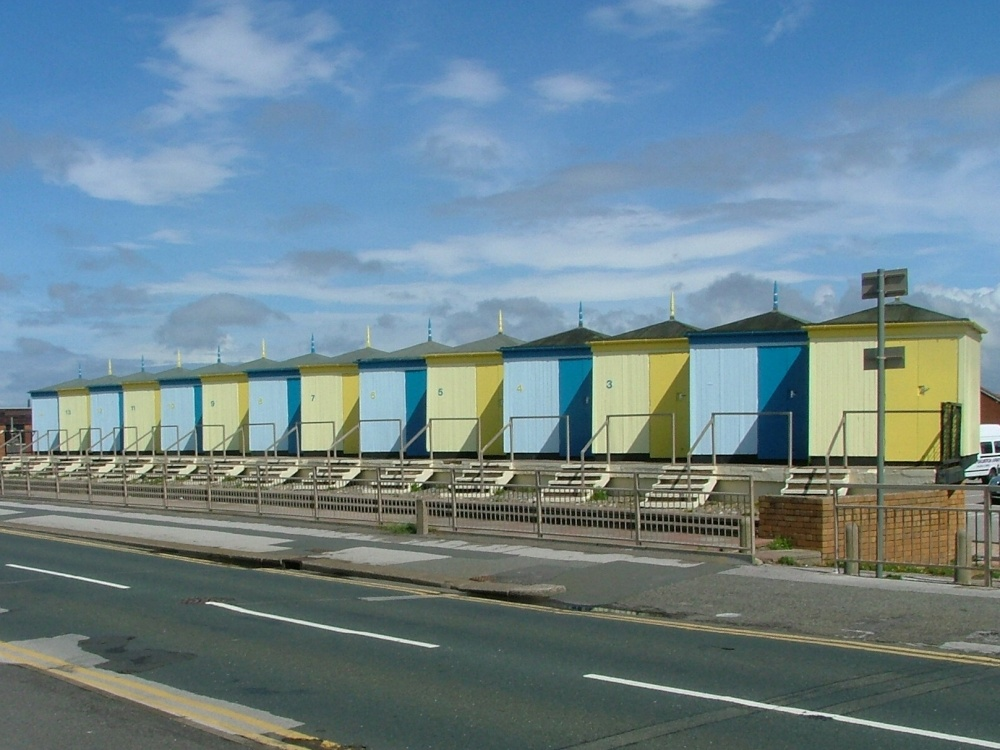 """Old bathing huts at Cleveleys, Lancashire"" by Frank Smith ..."