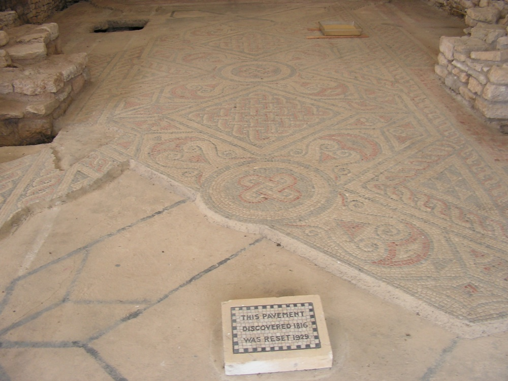 Old Ceremic Roman floor at North Leigh Roman Villa, Oxfordshire