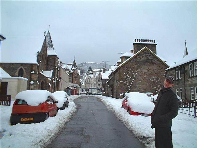 Chapel street, Aberfeldy, Perth & Kinross, in winter
