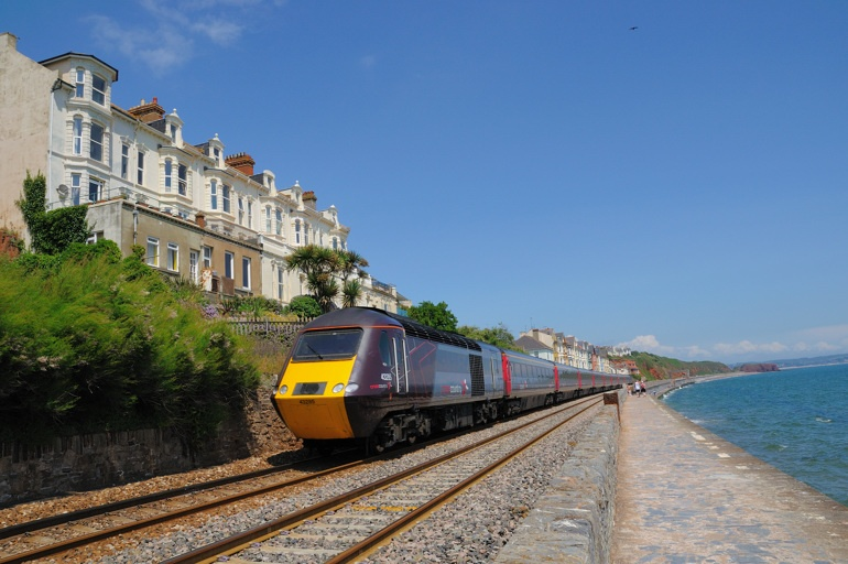 Dawlish promenade and red cliffs with first Intercity 125 - June 2009