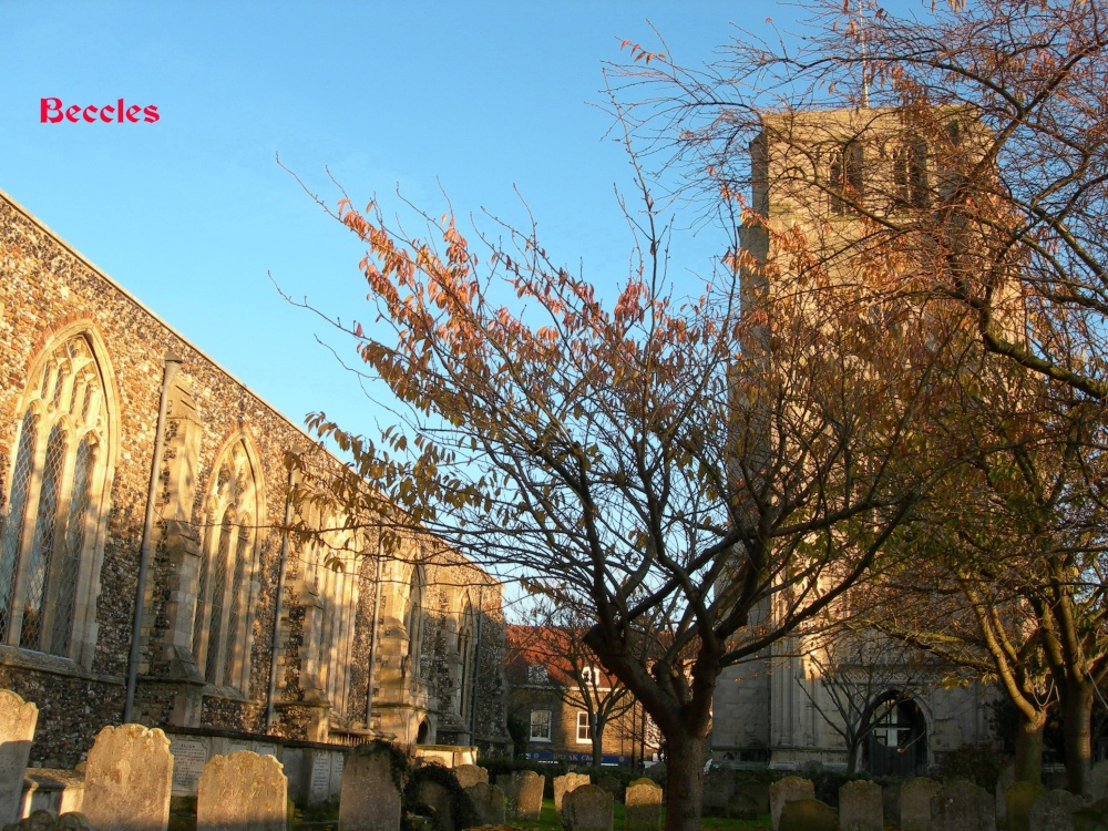 The tower and one side of the large Church at Beccles
